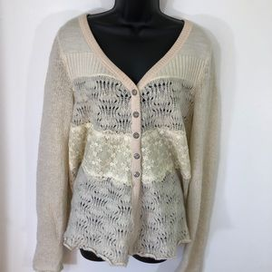 🌳 Free People Cream Lace Loose knit Cardigan